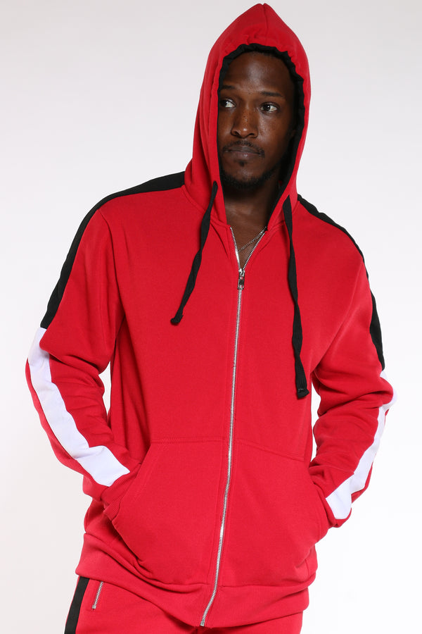 Men's Color Block Sleeves Hoodie - Red Black-VIM.COM