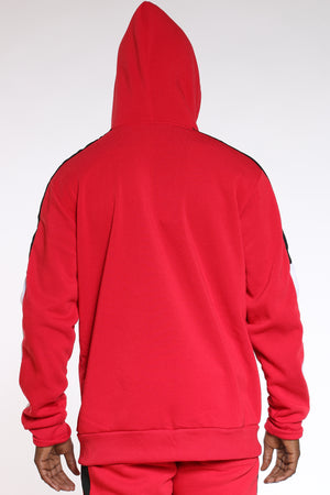 Men's Color Block Sleeves Hoodie - Red Black