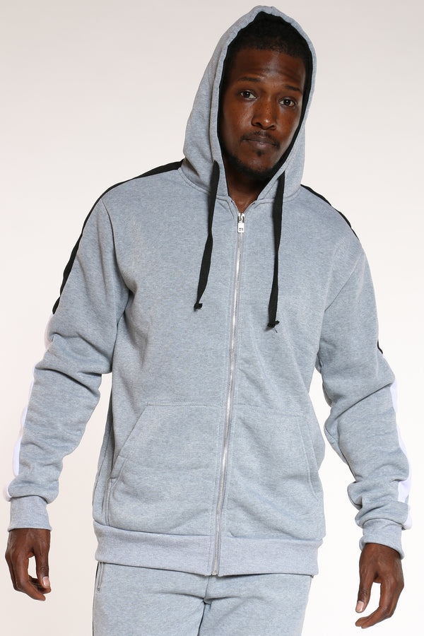 Men's Color Block Sleeves Hoodie - Heather Grey Black-VIM.COM