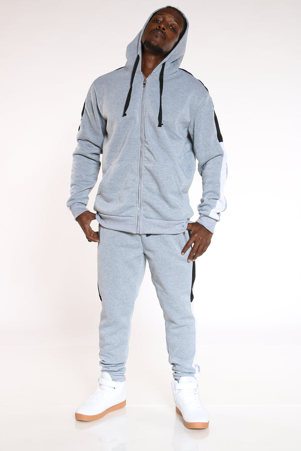 Men's Color Block Sleeves Hoodie - Heather Grey Black