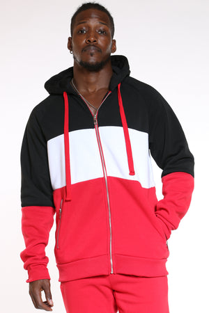 Men's Color Block Zip Fleece Hoodie - Black Red-VIM.COM