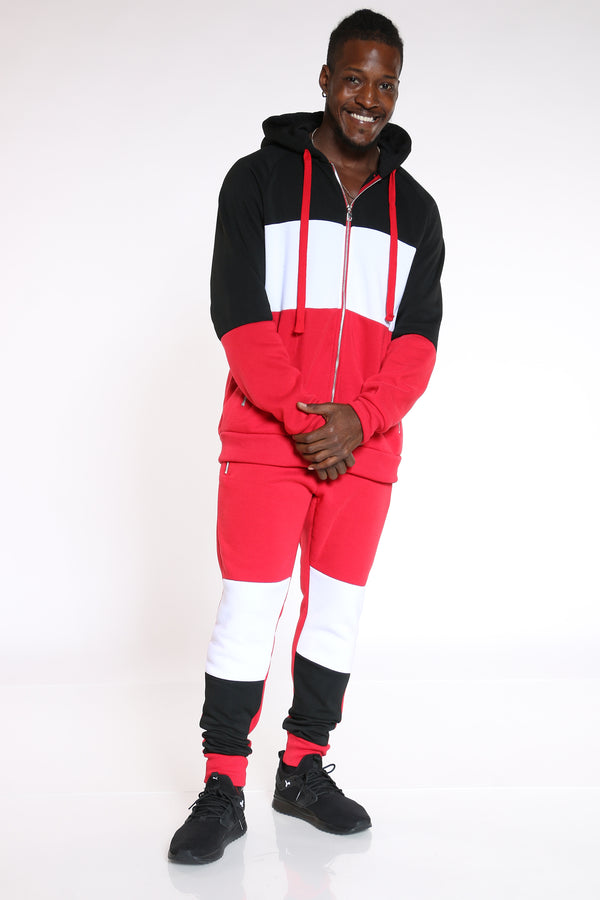 Men's Color Block Zip Fleece Hoodie - Black Red