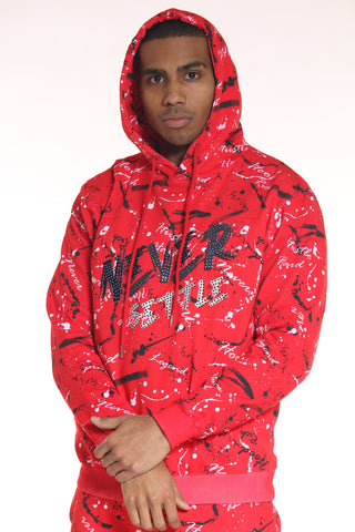 Men's Never Settle Stones Hoodie - Red-VIM.COM
