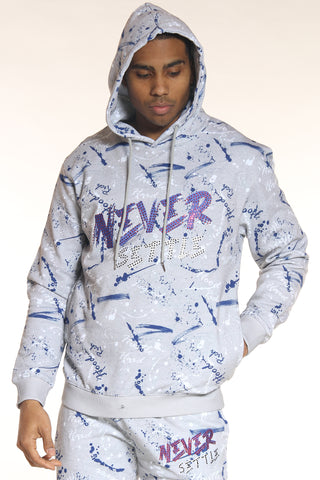 Men's Never Settle Stones Hoodie - Heather Grey-VIM.COM
