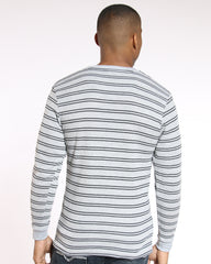 VIM Brian Thin Striped Thermal Tee - Heather Grey Black - Vim.com