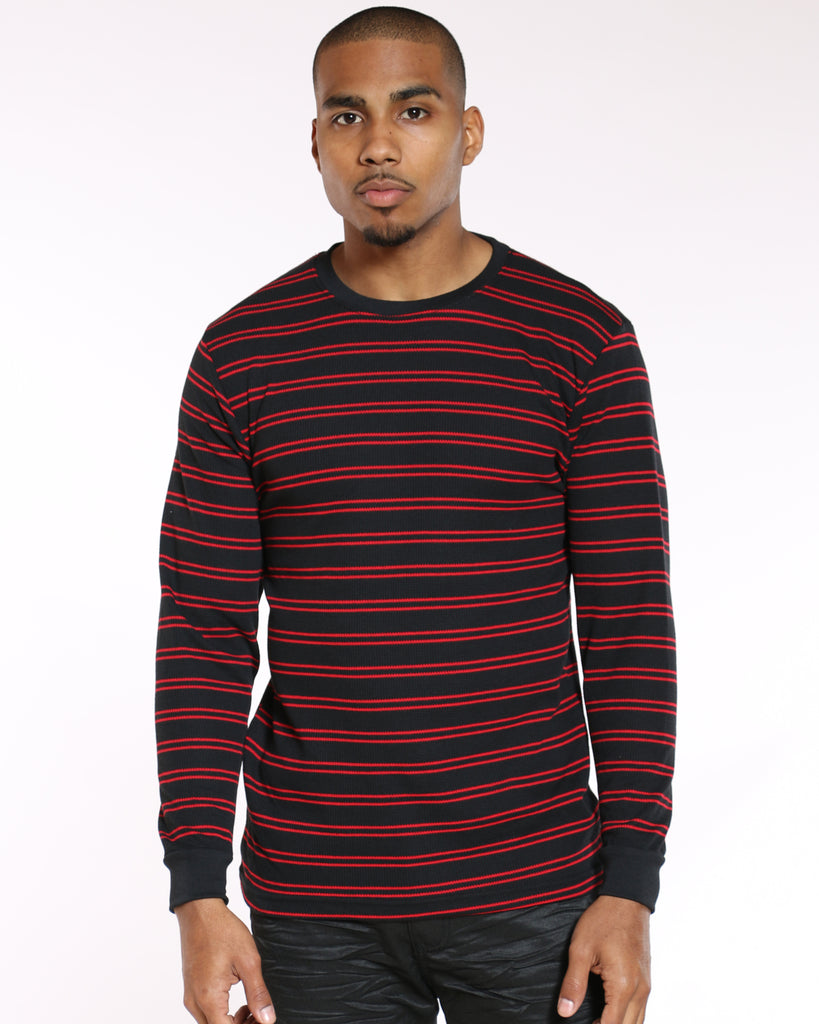 VIM Brian Thin Striped Thermal Tee - Black Red - Vim.com