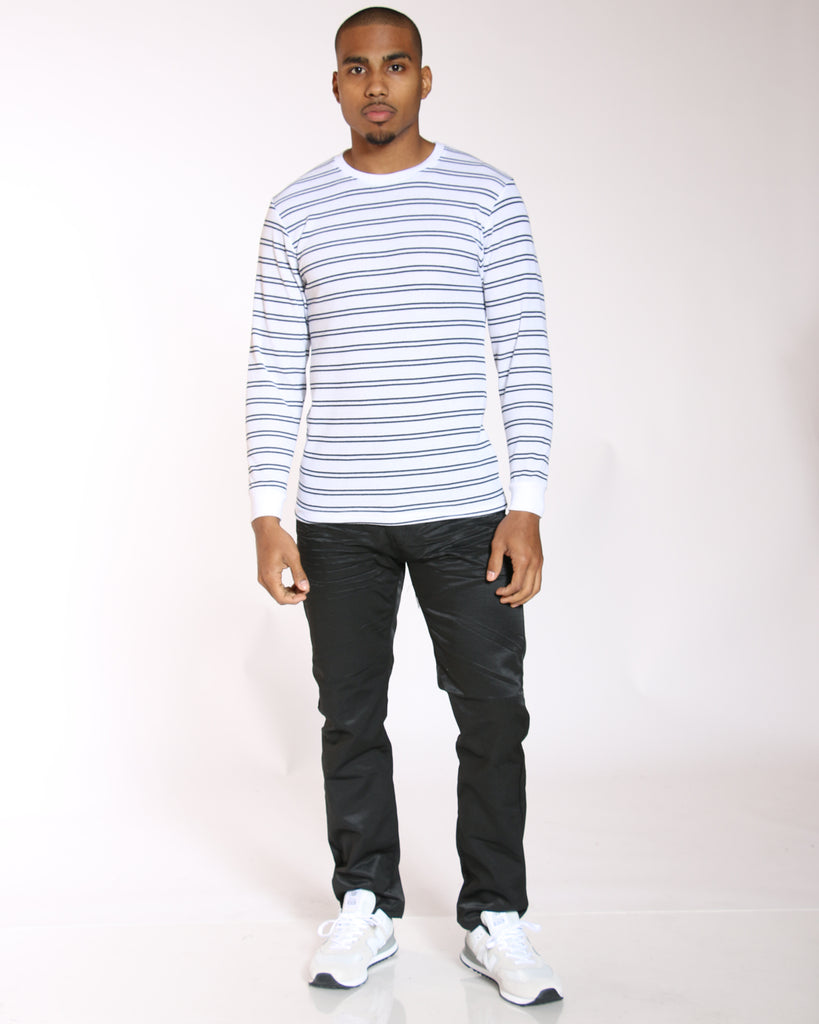 VIM Brian Thin Striped Thermal Tee - White Navy - Vim.com