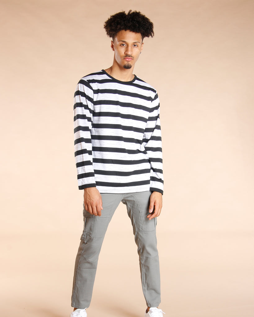0ab6f1e3d57 VIM Drake Long Sleeve Black   White Stripe Shirt - Vim.com