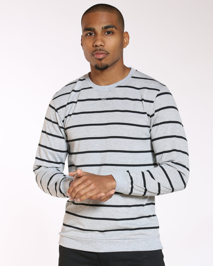 VIM Fred Striped Thermal Tee - Heather Grey Black - Vim.com