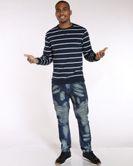 VIM Fred Striped Thermal Tee - Navy White - Vim.com