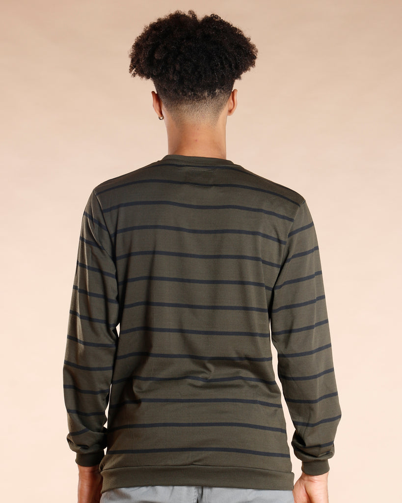 VIM Fred Striped Thermal Tee - Olive - Vim.com
