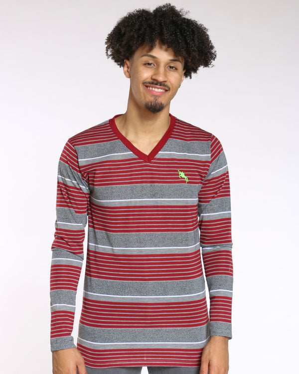 Men's Trevor V Neck Striped Tee - Burgundy-VIM.COM
