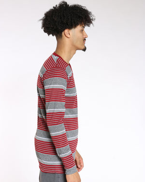 Men's Trevor V Neck Striped Tee - Burgundy