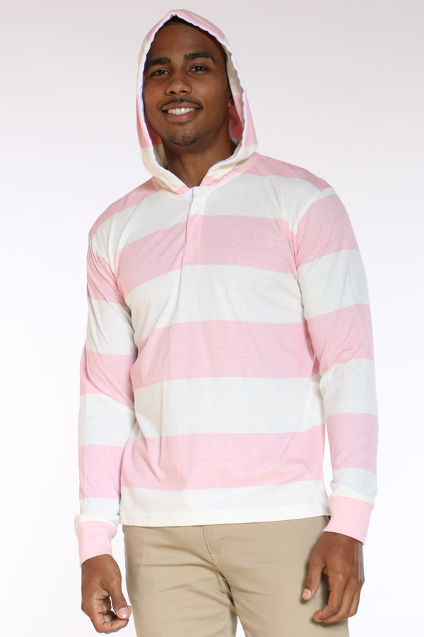 Men's Striped Rugby Hooded Tee - Peach-VIM.COM