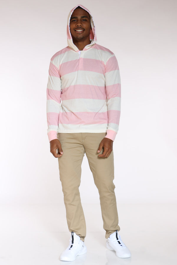 Men's Striped Rugby Hooded Tee - Peach