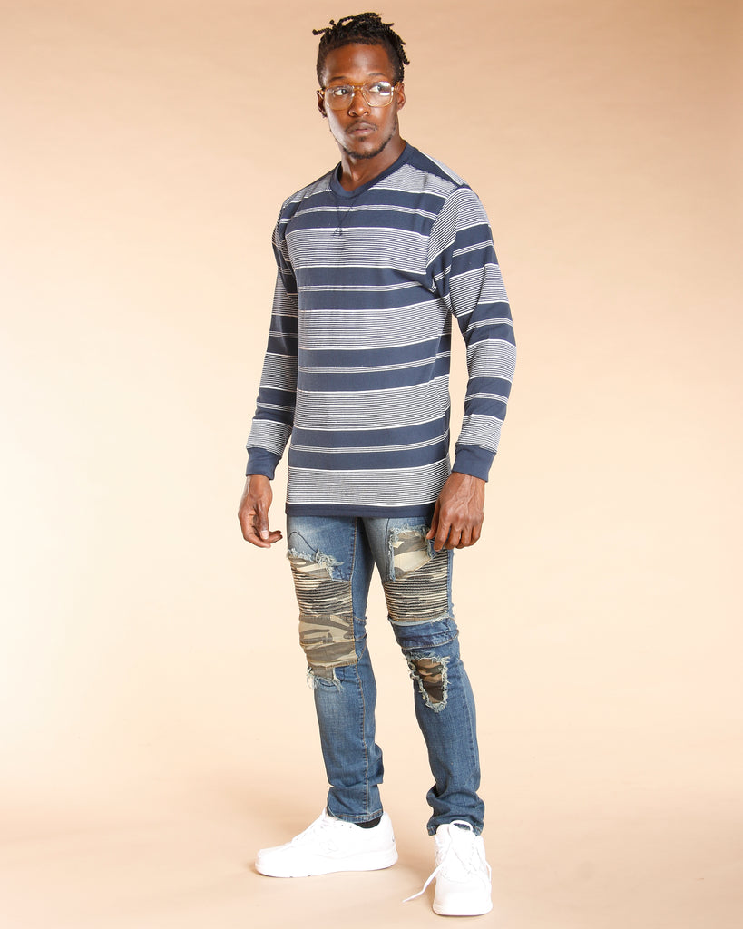 VIM Men'S Thermal Striped Crew Long Sleeve Shirt - Vim.com