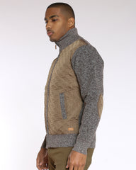 Robbie Nylon Full Zip Patch Sweater - Beige