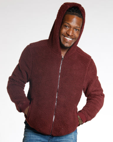 Wine Fleece Full Zip Sweater