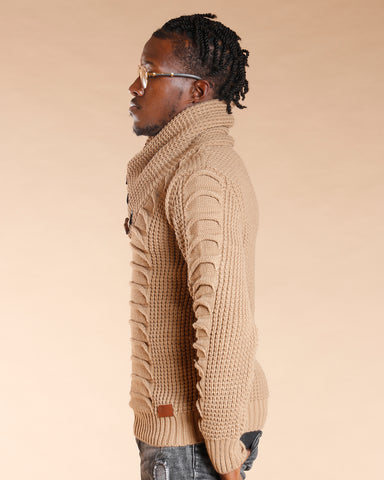 Beige Muffle Neck Sweater