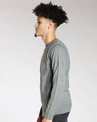 Grey Argyle Tonal Sweater