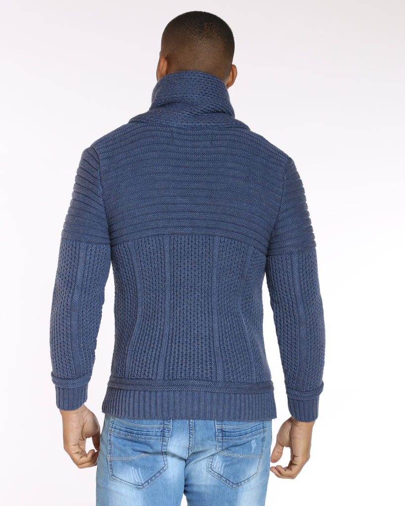 VIM Ron'S Cozy Fur Hood Toggle Cardigan Sweater - Blue - Vim.com