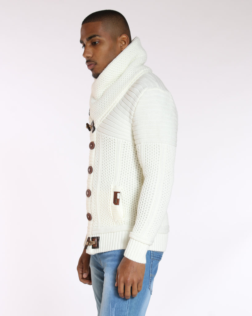 VIM Ron'S Cozy Fur Hood Toggle Cardigan Sweater - Ecru - Vim.com