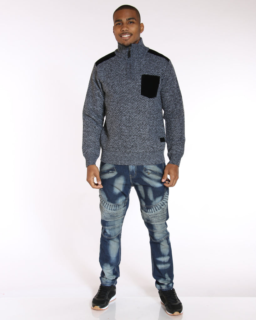 Tony Front Pocket Patches Sweater - Black