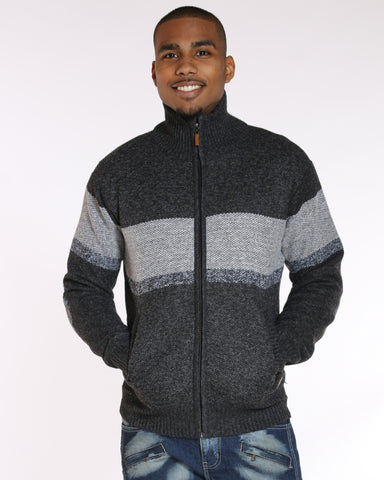 VIM Dion Color Block Fur Lined Sweater - Charcoal - Vim.com