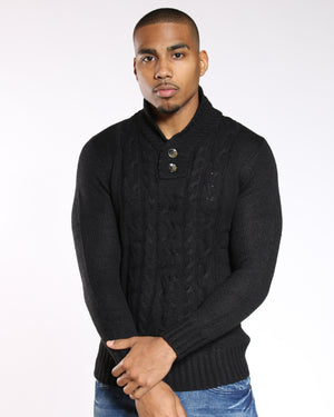 VIM Cable Knitted Button Top Sweater - Black - Vim.com