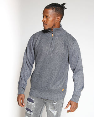 VIM Elbow Patch Fleece Lined Sweater - Black - Vim.com