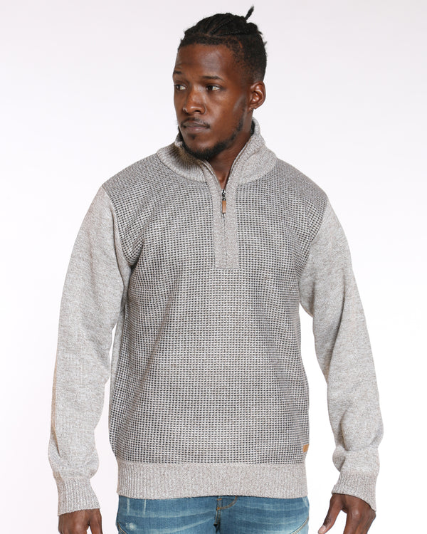 VIM Elbow Patch Fleece Lined Sweater - Tan - Vim.com