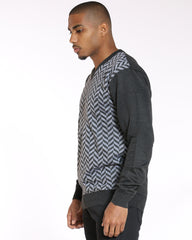 VIM Printed V Neck Sweater - Charcoal - Vim.com