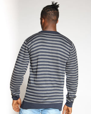 VIM Striped Crew Sweater - Navy - Vim.com