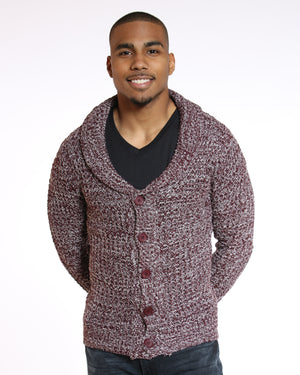 VIM Greg Marled Button Sweater - Burgundy - Vim.com