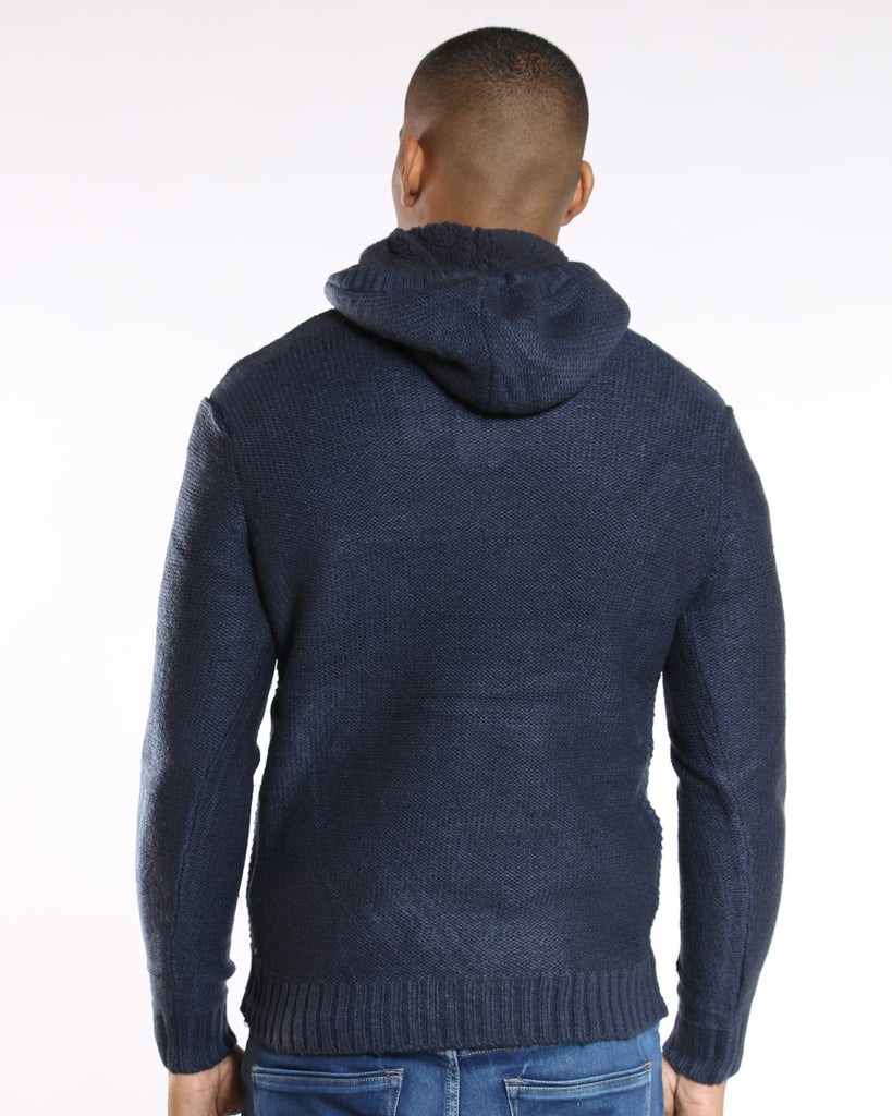 VIM Neil 3 Button Hooded Sweater - Navy - Vim.com