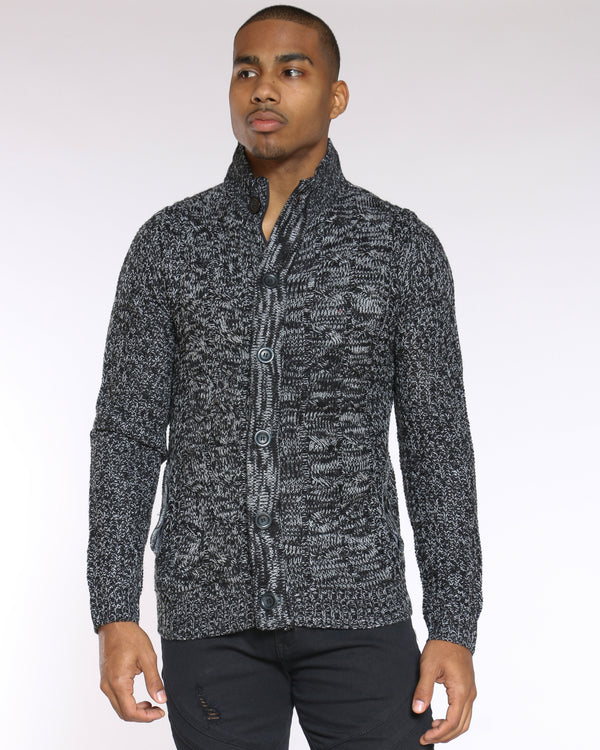 Men's Marled Button Up Sweater - Black-VIM.COM