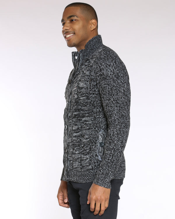Men's Marled Button Up Sweater - Black