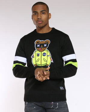 Men's Coolest Bear Patch Sweater - Black-VIM.COM