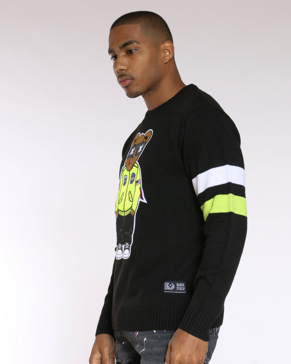 Men's Coolest Bear Patch Sweater - Black