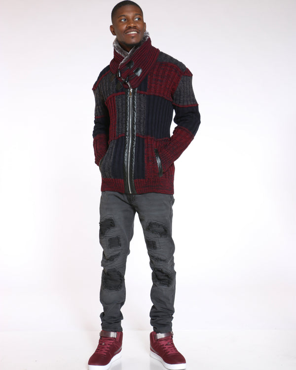 Men's Justin Color Block Pull Over Sweater - Burgundy