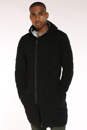 Men's Ribbed Fur Collar Long Hoodie - Black-VIM.COM