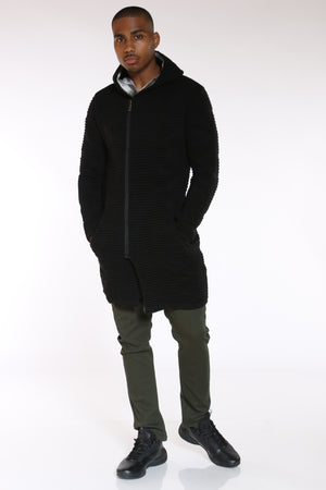 Men's Ribbed Fur Collar Long Hoodie - Black