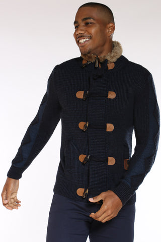 Men's Toggle Fur Neck Trim Sweater - Navy Blue