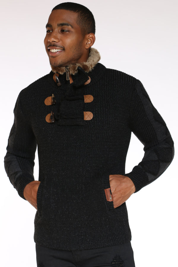 Men's Toggle Fur Trim Pullover Sweater - Black-VIM.COM