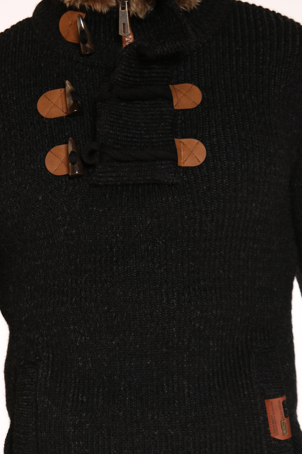 Men's Toggle Trim Pullover Sweater - Black