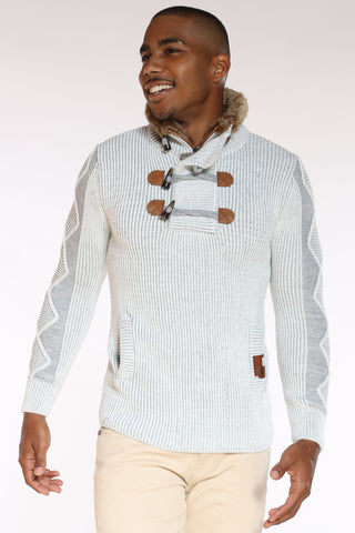 Men's Toggle Fur Trim Pullover Sweater - Ecru Grey