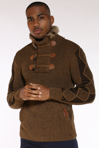 Men's Toggle Fur Trim Pullover Sweater - Camel