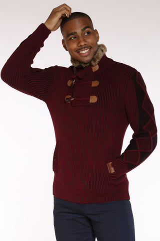 Men's Toggle Fur Trim Pullover Sweater - Burgundy