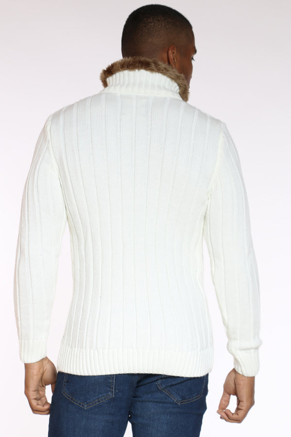 Men's Neck Trim Diamond Zip Sweater - Ecru