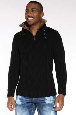 Men's Fur Neck Trim Diamond Zip Sweater - Black-VIM.COM